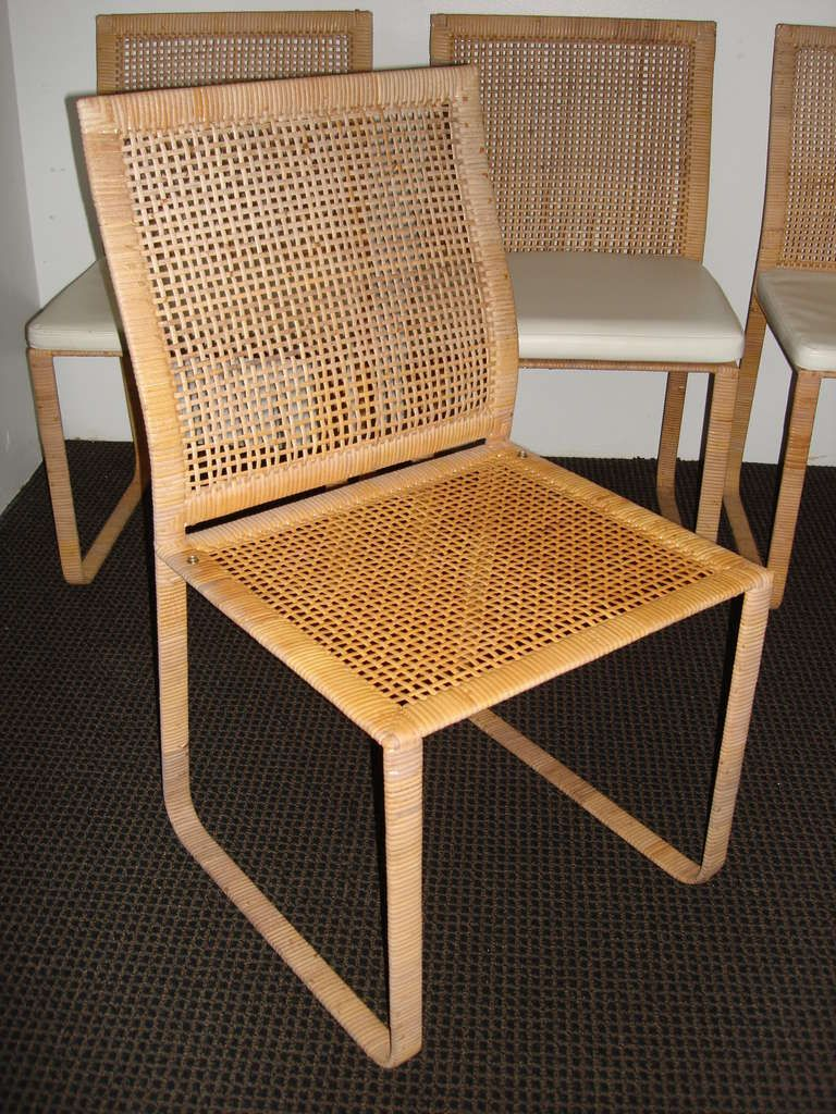Rare Harvey Probber Woven Rattan Dining Chairs | From A Unique Collection  Of Antique And Modern