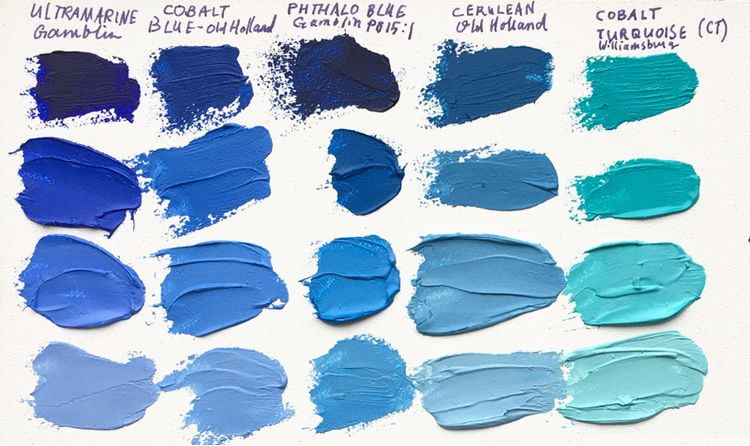 Samples Of French Ultramarine Cobalt Phthalo Cerelean