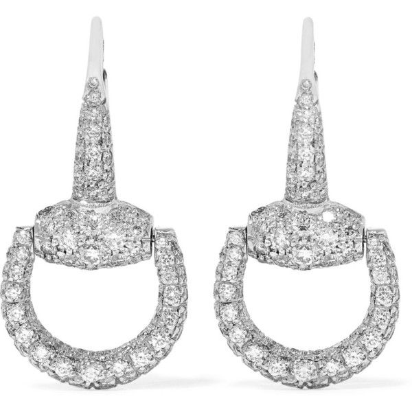 Gucci 18-karat White Gold Diamond Earrings - Silver kaMON3
