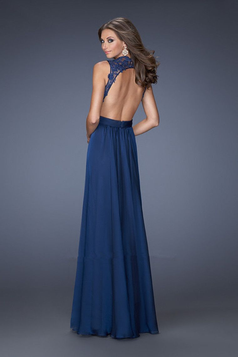 prom dresses a line floor length v neck chiffon and lace dark