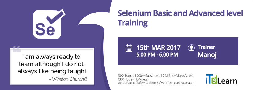 #JobPlacement and #CertifiedTraining Program (#JPACT) for #Selenium basic and advanced level courses by #iTeLearn, world's renowned #SoftwareTesting trainers.    Click here to know more details: http://itelearn.com/event/selenium-ba-level-training-jpact/