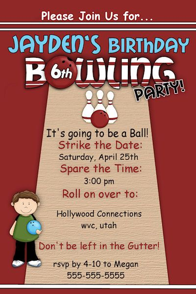 Customized Printable Boys or Girls Bowling party Birthday - bowling invitation