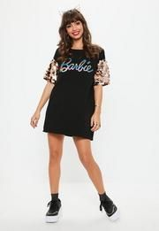 22fdc5f1973 Barbie x Missguided Black Glitter Logo Sequin Sleeve T Shirt Dress ...
