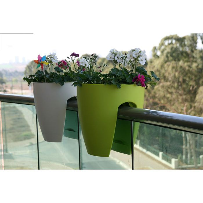 balcony rail planter -- transform a railing into a little garden by simply slotting them on to the rail
