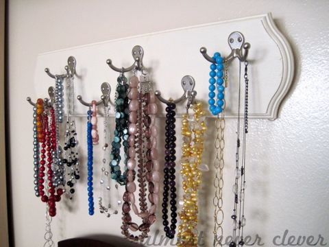 DIY Jewelry rack with double hooks for lots of necklaces and bracelets.