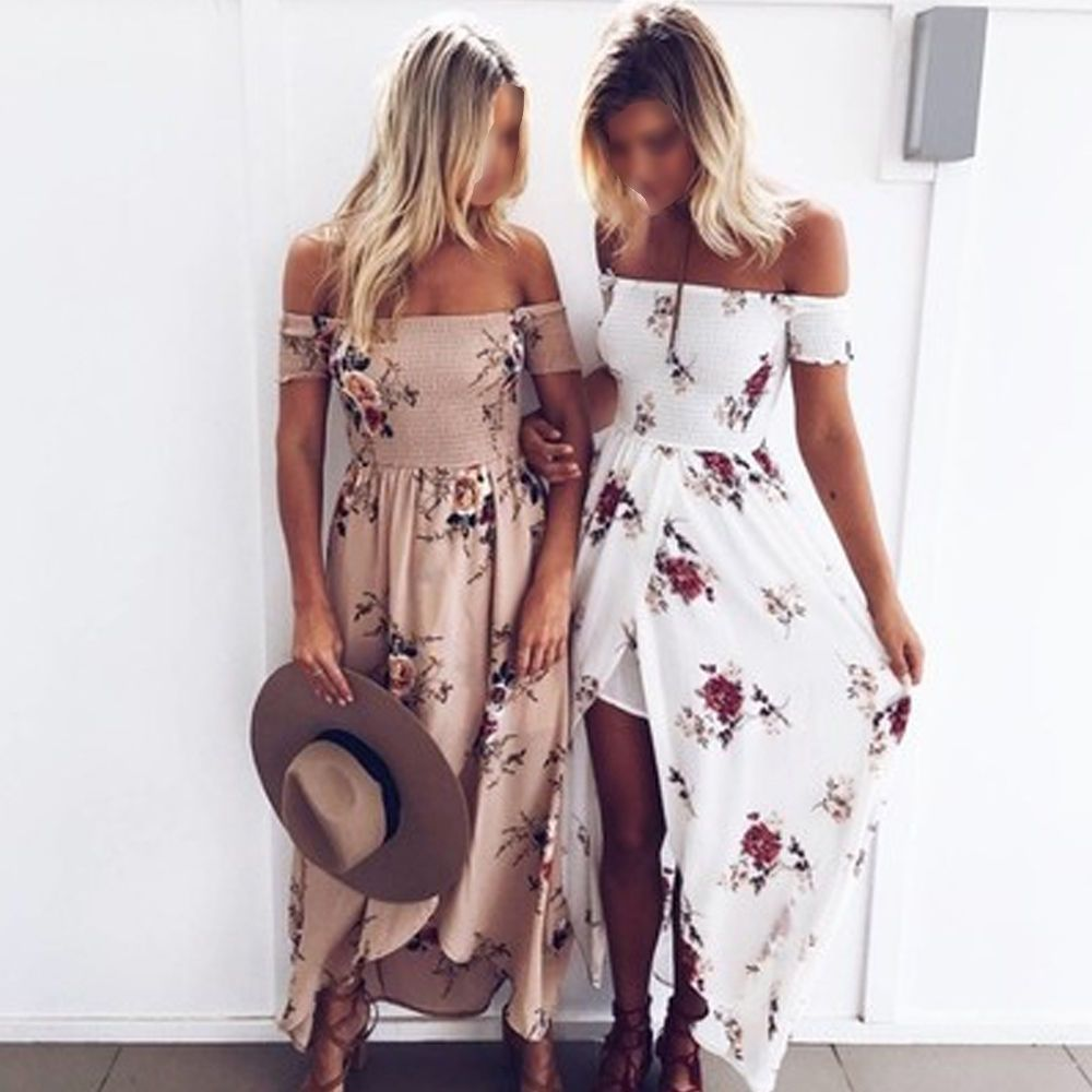Bohemia Women s Off Shoulder Long Maxi Dress Floral Evening Party Beach  Sundress 9912dfb5b1