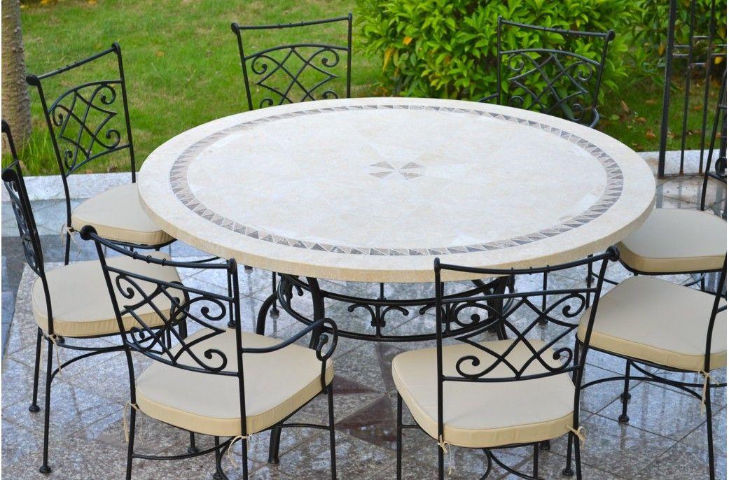 garden round mosaic stone marble table