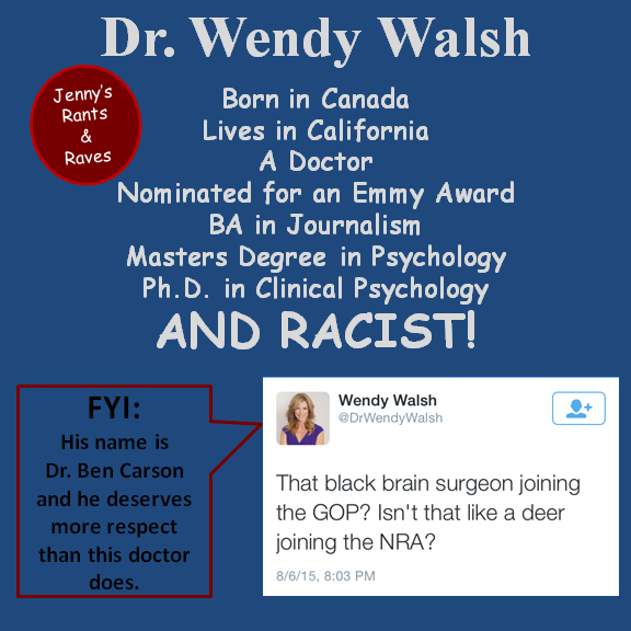 """Democrats scream racism at the drop of a hat, only when it may hinder one of their own candidates or possible voters. Other than that they don't care about racism or any other social ills. Shows they are not """"For the People"""" only for their own people, whoever they may be.  * * #DrWendyWalsh #BenCarson #racism   * www.MadamJenny.com"""