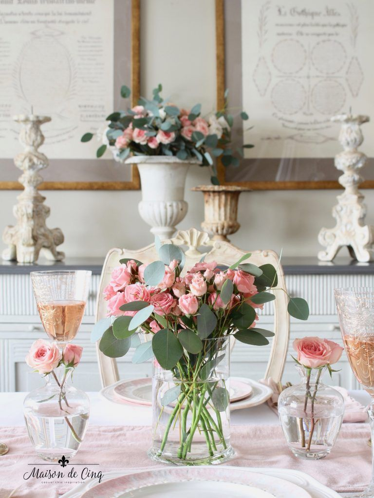 Valentine S Day Table With Pink Roses In Gl Vase And Bud Vases Dinner