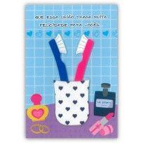 Cartão Casamento Artesanal Escovas de dente