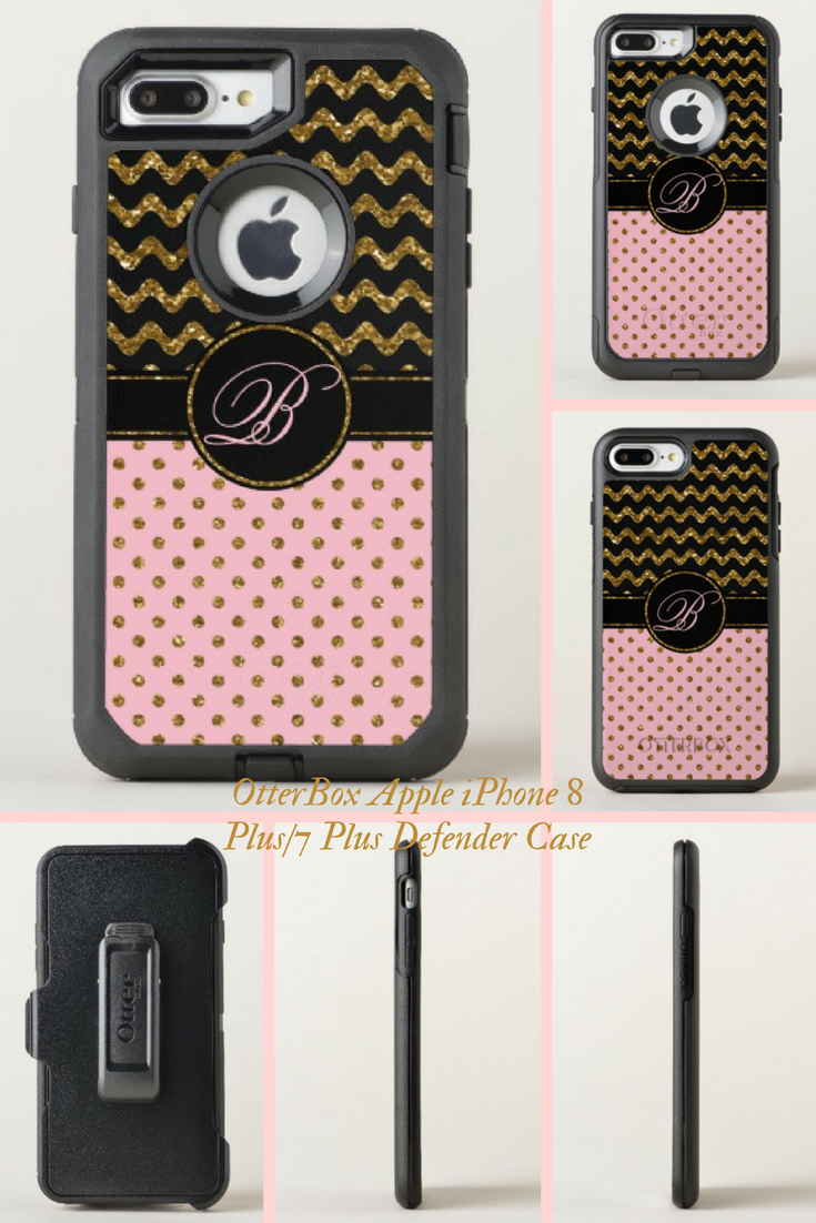 new arrival c7201 5c8b2 Chic Pink Gold Glitter Black Chevron With Monogram OtterBox iPhone ...