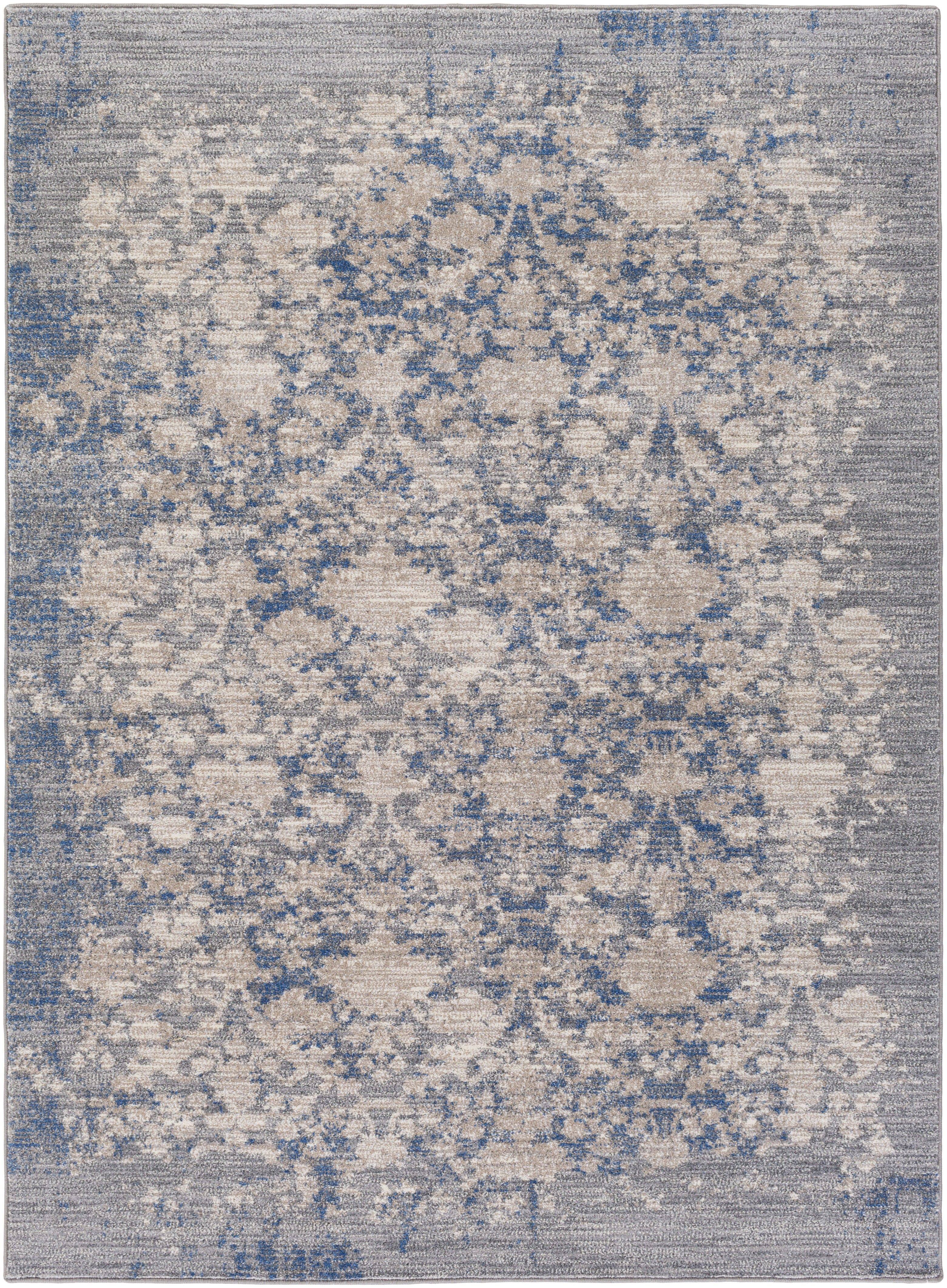 The Look Of A Worn Vintage Rug In A Soothing Gray And Blue Palette