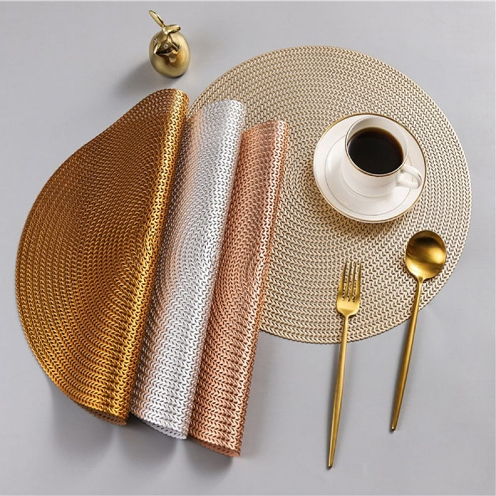 New 38cm Round Pvc Placemat Nordic Anti Scalding Insulation Table Mat Hotel Restaurant Steak Pads Dining Table In Kitchen Placemats Woven Placemats