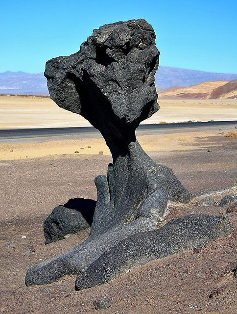 Mushroom Rock, Death Valley. Looks like a vultures head sculpted out of lava.