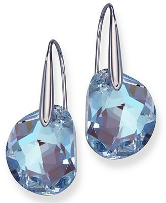 3d39294b2 Crystal-clear elegance. Radiant galet crystals hang from rhodium-plated  mixed metal to create Swarovski's dramatic drop earrings. Approximate drop:  1-1/4 ...