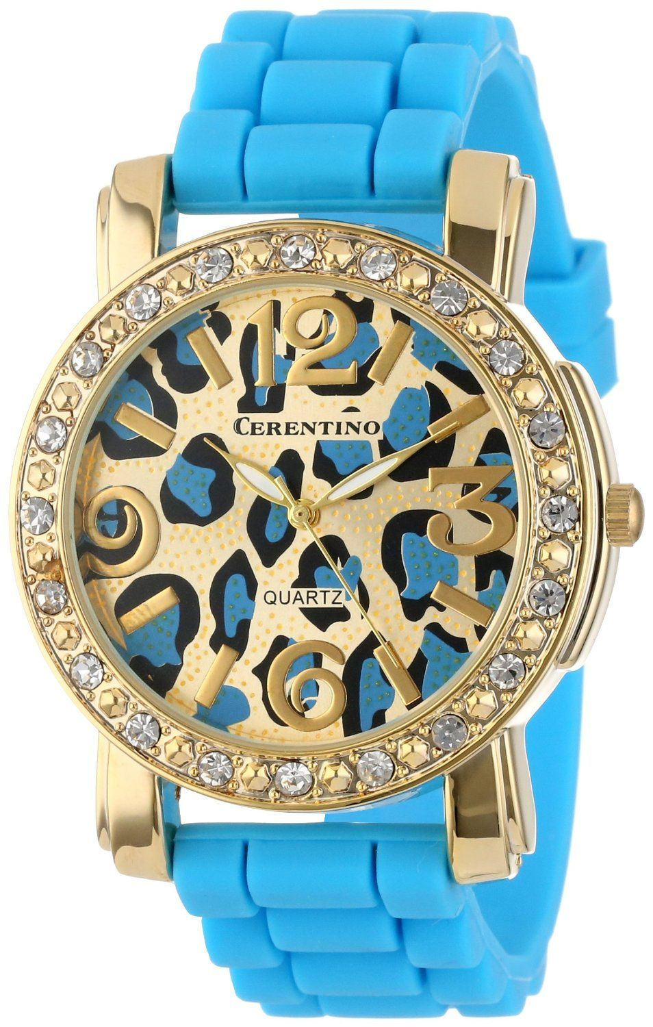 Turquoise Silicone Rubber Leopard Print Watch