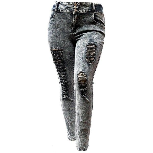 Womens Denim Skinny Ripped Pants Stretch Jeans Distressed Trousers Plus Size