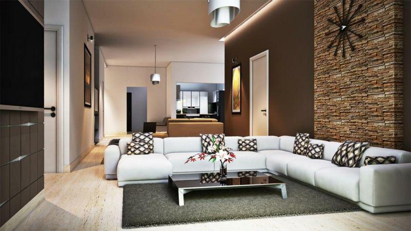 modernes wohnzimmer braunes sofa schiebetür essbereich Haus - raumgestaltung wohnzimmer braun