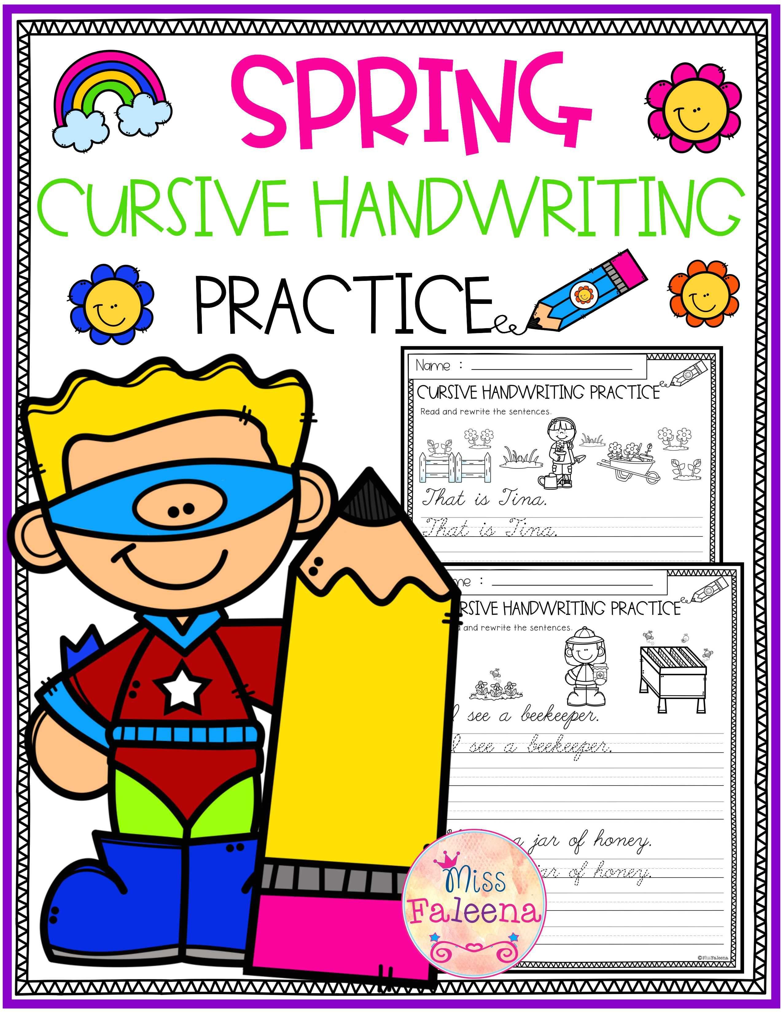 Spring Cursive Handwriting Practice
