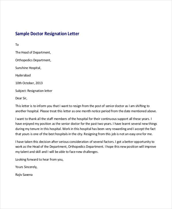 simple resignation letters free amp premium templates doctor - letters of resignation