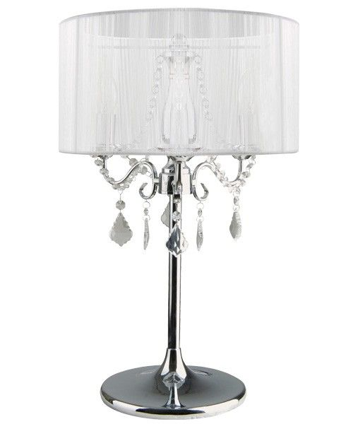 Paris 3 Light Chrome Table Lamp With White String Shade