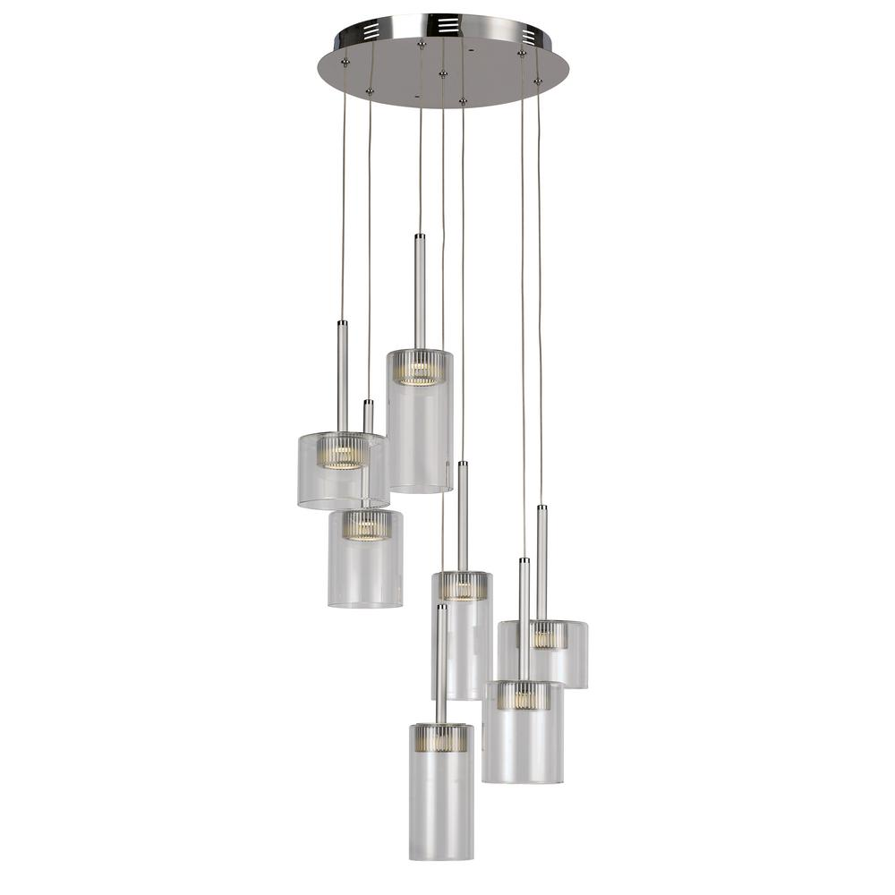 Transglobe 7-Light Polished Chrome Interior LED Pendant with Clear Glass-PND-996 - The Home Depot