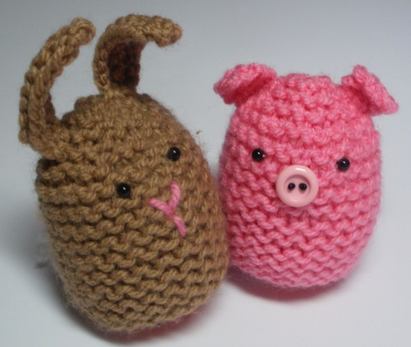 Cute Knitted Egg Covers - Audrey\'s Knits   Crocheting   Pinterest ...