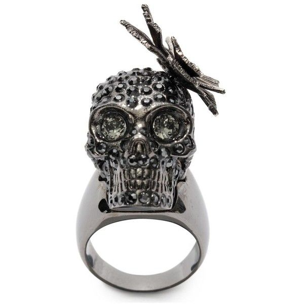 Alexander McQueen Butterfly Small Ring (635 CAD) ❤ liked on Polyvore featuring jewelry, rings, silver, swarovski crystal jewelry, skull ring, alexander mcqueen ring, skull jewellery and butterfly jewelry