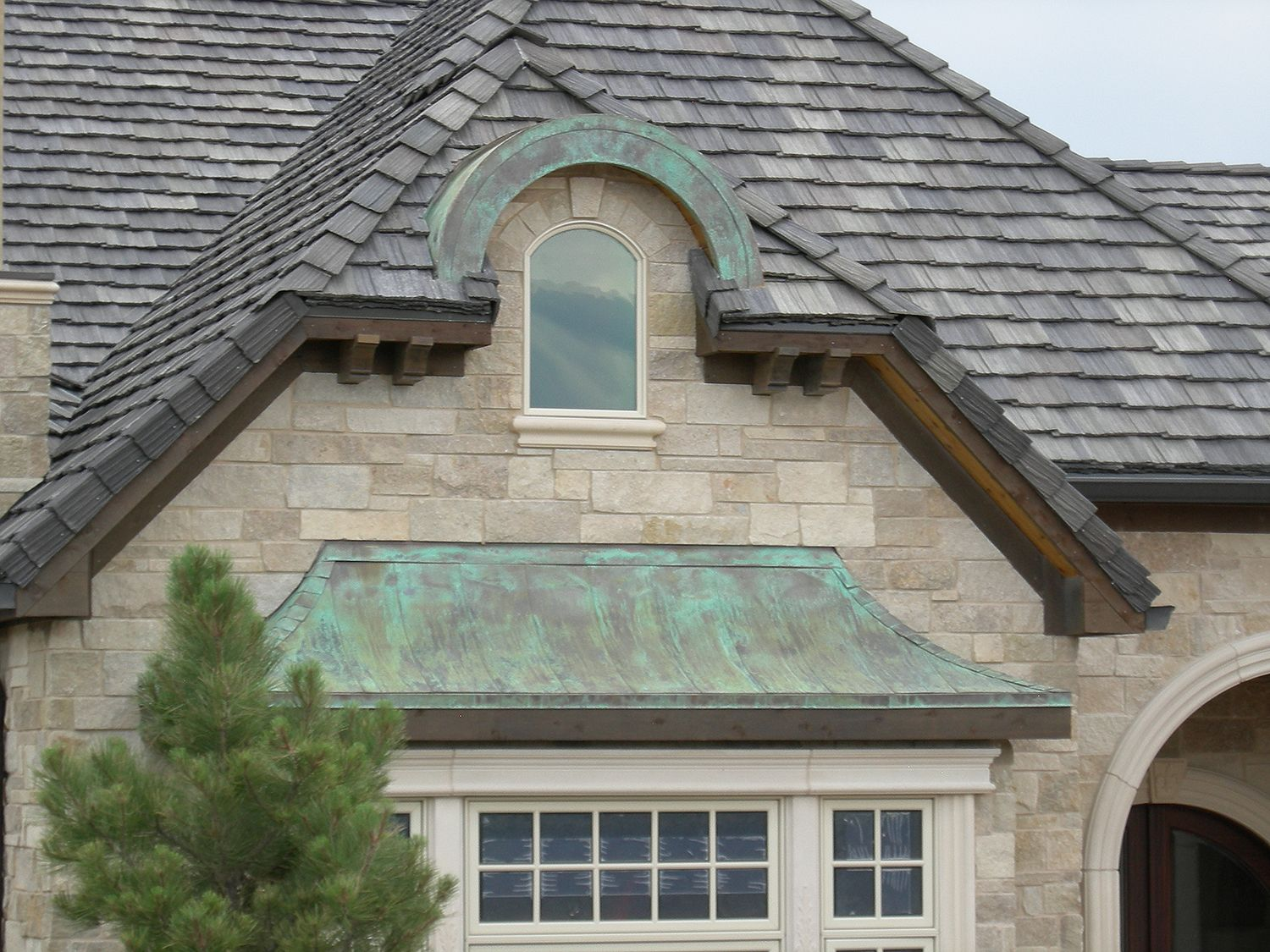 Photo Property Of Craft Corp Wheat Ridge Co 16 Oz Artificial Patina Exterior Accents With Concave Flat Seam Panels Wi Copper Roof Metal Shingle Roof Roofing