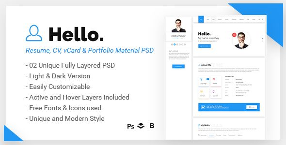 Hello - Resume, CV, vCard  Portfolio Material PSD Template Resume