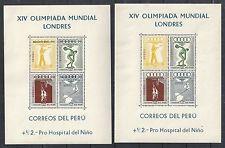 Peru Estampillas 1948 mi bloque 1 +2 Juegos Olímpicos Mnh Vf