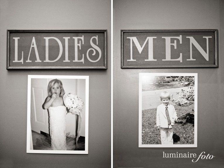 Put Old Pics Of Bride And Groom On The Bathroom Door At Wedding Funny Idea