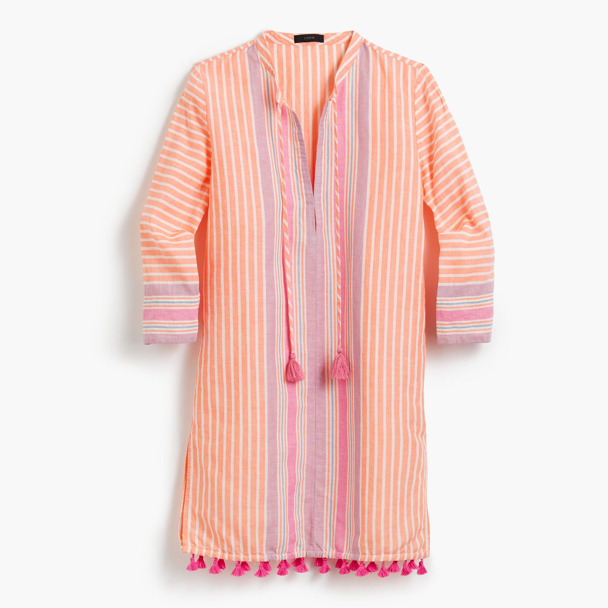 The linen tunic = perfect for packing, lounging and wearing to the pool. Falls above knee, 34 from high point of shoulder (based on size small). Loose fit. Linen/cotton. Three-quarter sleeves. Machine wash. Import. Online only.