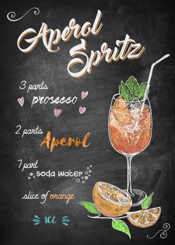 "Chalkboard Bar Cocktails Aperol Spritz #Displate artwork by artist ""Joan Derpp"". Part of an… | Displate thumbnail"