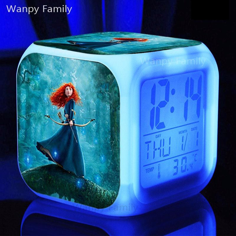 Merida Princess Brave Alarm Clocks Glowing Led Color Change