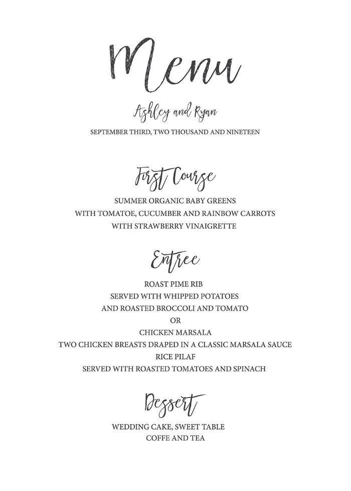 Free Printable Wedding Menu Template For The Diy Bride Print Out Our Simple And Elegant Free Printable Wedding Menu Printable Menu Template Menu Card Template
