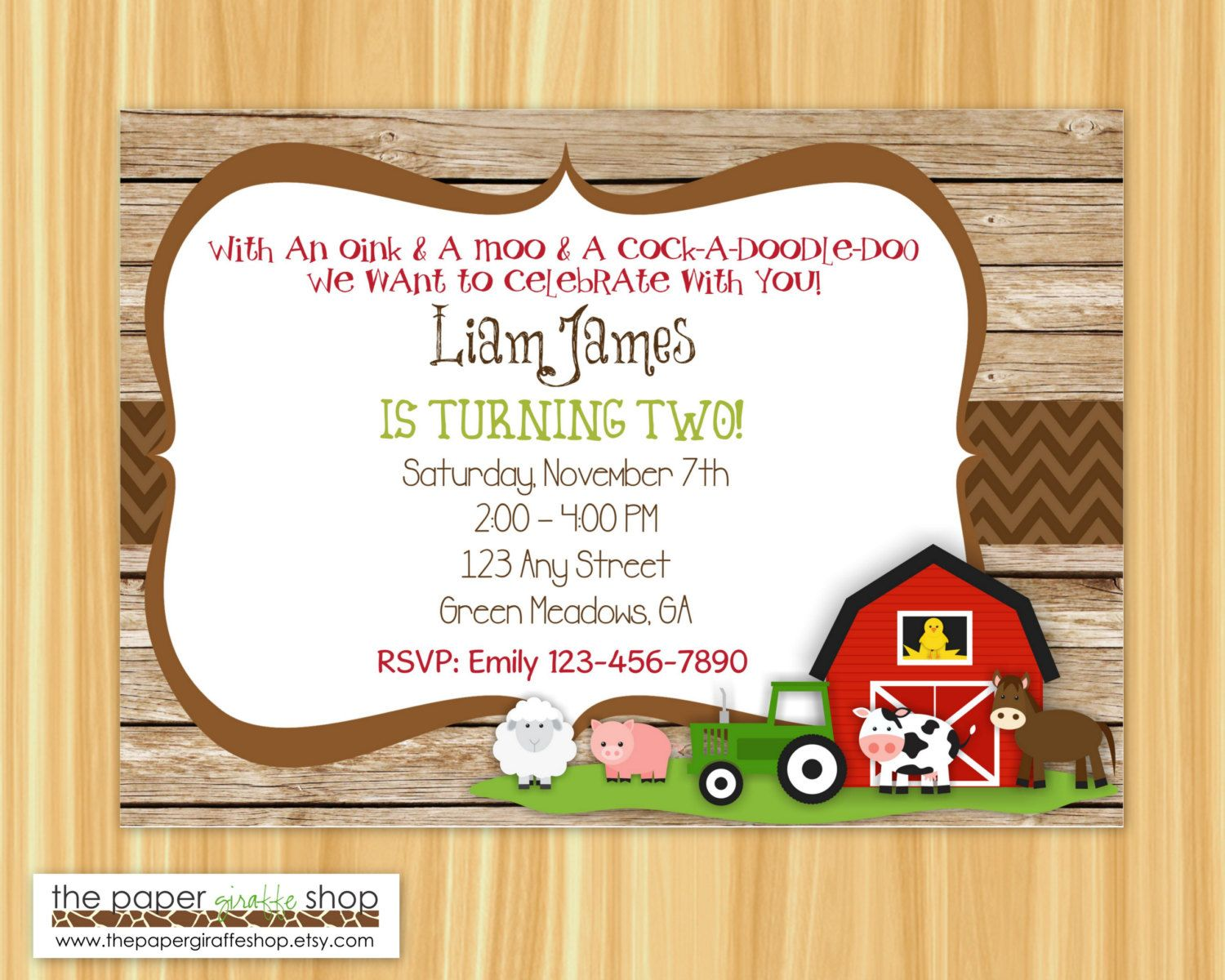 Farm Birthday Invitation | Rustic Farm Birthday Party | Farm Party ...