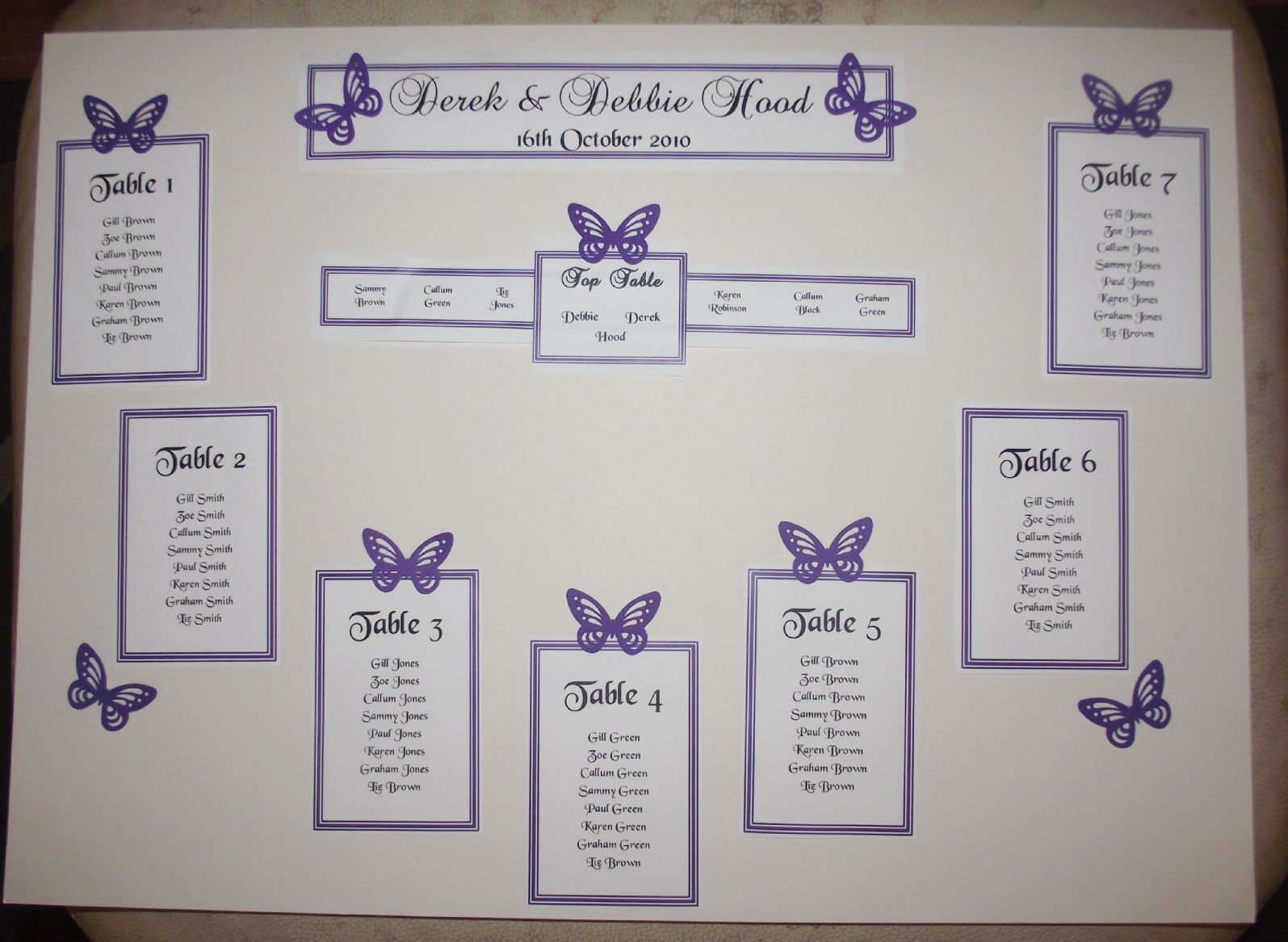 Personalised A3 A2 Wedding Seating Plan Table Erflies Many Colours
