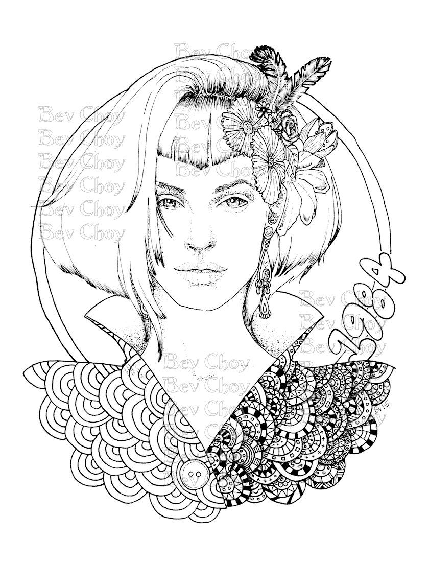 adult coloring page retro by bevchoyart on etsy