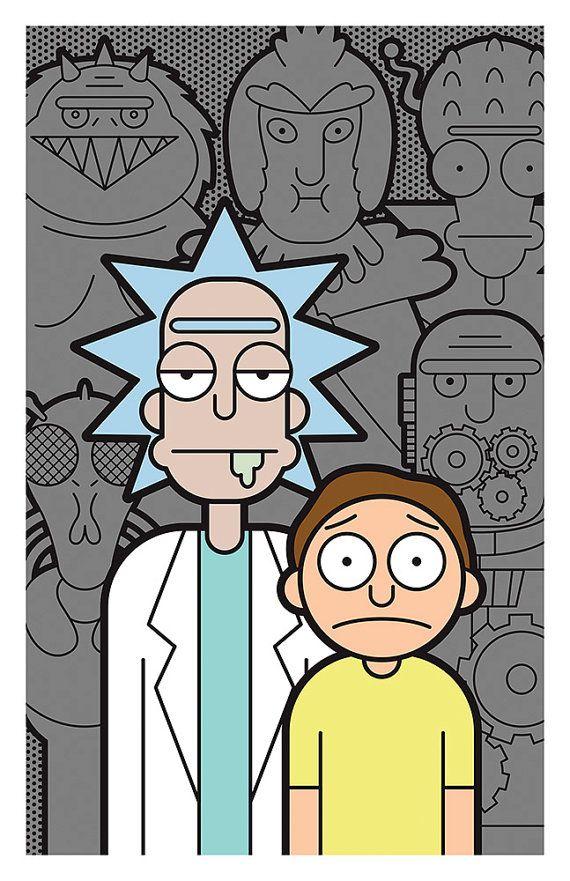 Rick And Morty Print 11x17 Fondos De Pantalla De Iphone Fondo De Pantalla De Dibujos Animados Fondos De Colores Hd