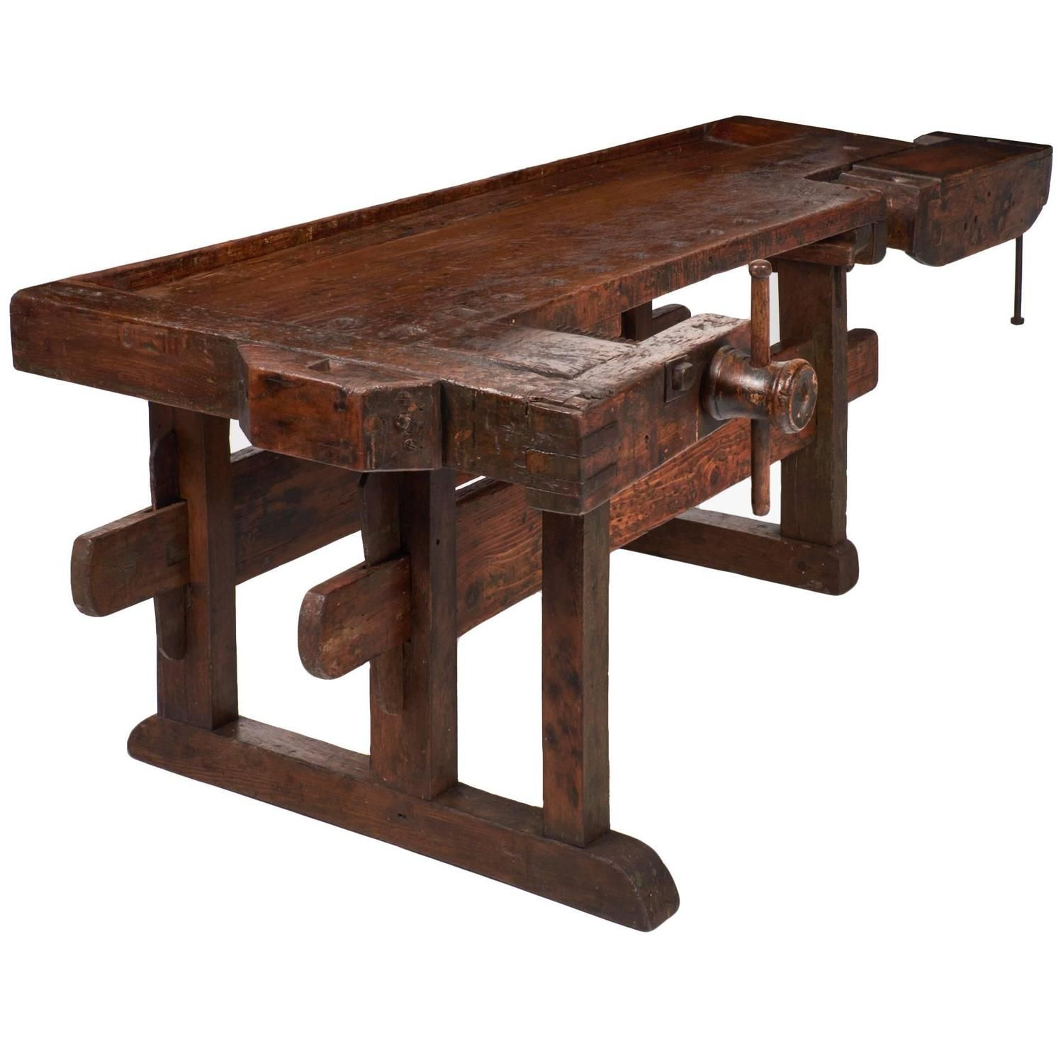 Colossal Antique Alpine Ski Craftsman's Workbench