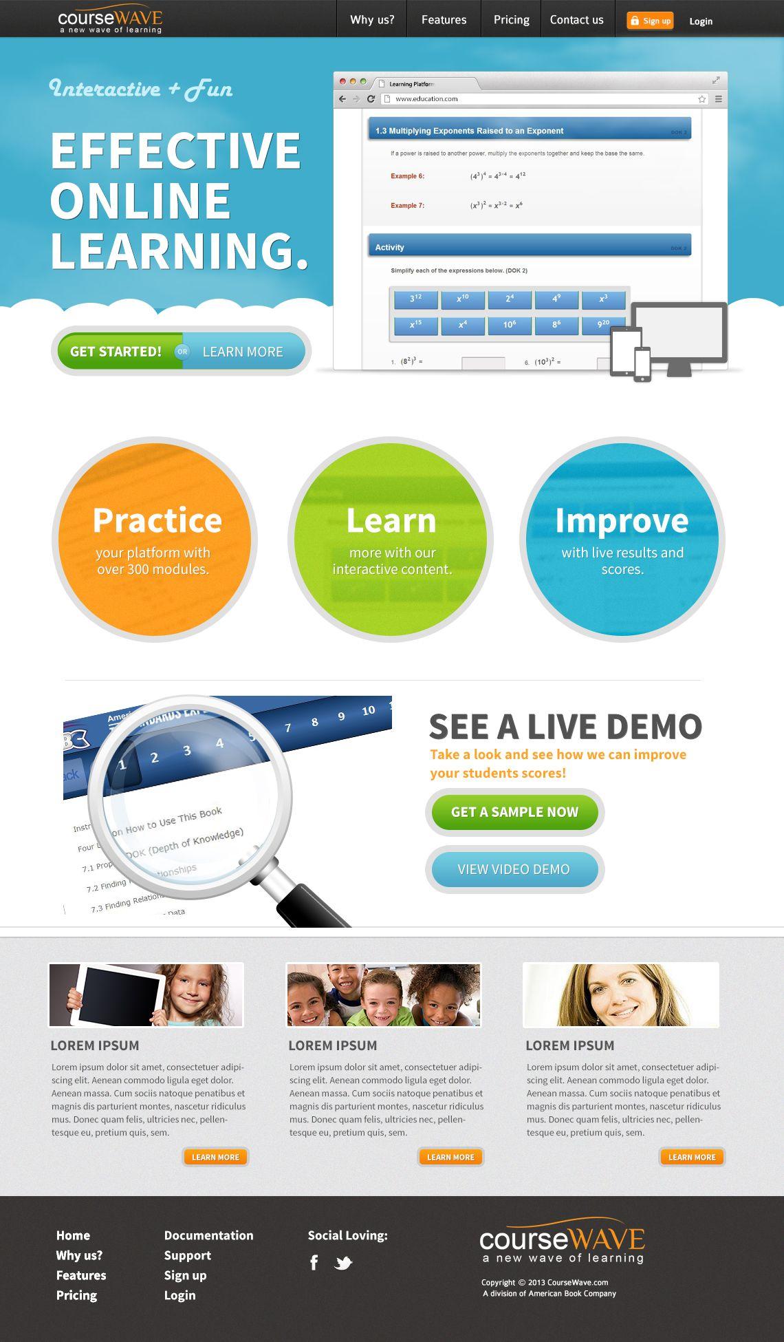 Course Wave Mock Up 3 Online Learning Website Design Improve Yourself