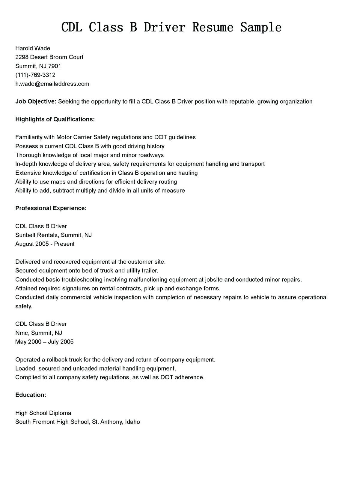 Cdl Truck Driver Job Description for Resume New Resume