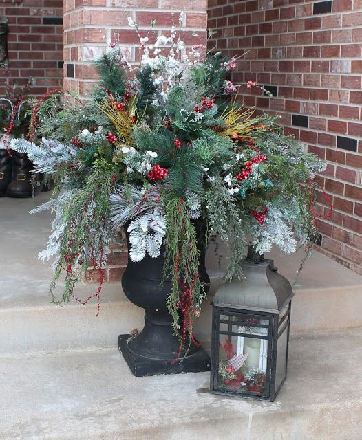 southern seazons front porch part 2 christmas urnschristmas decorationsfront - Decorating Front Porch Urns For Christmas