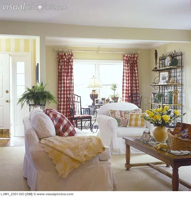 Decorating With Stripes For A Stylish Room: White Slip Covered Couch And Chair, Yellow