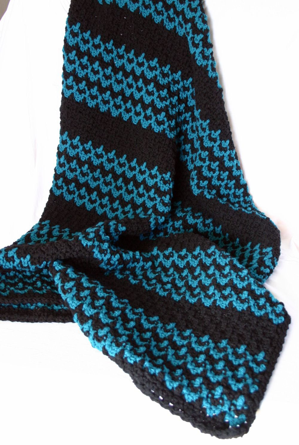 Crochet Afghan Teal Black Double Stranded Zig Zag Stripe Blanket
