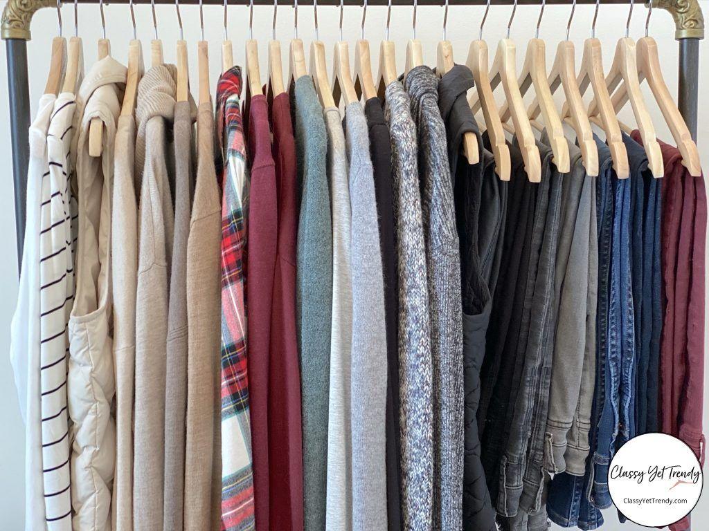 My Winter Capsule Wardrobe Clothes Rack Closeup