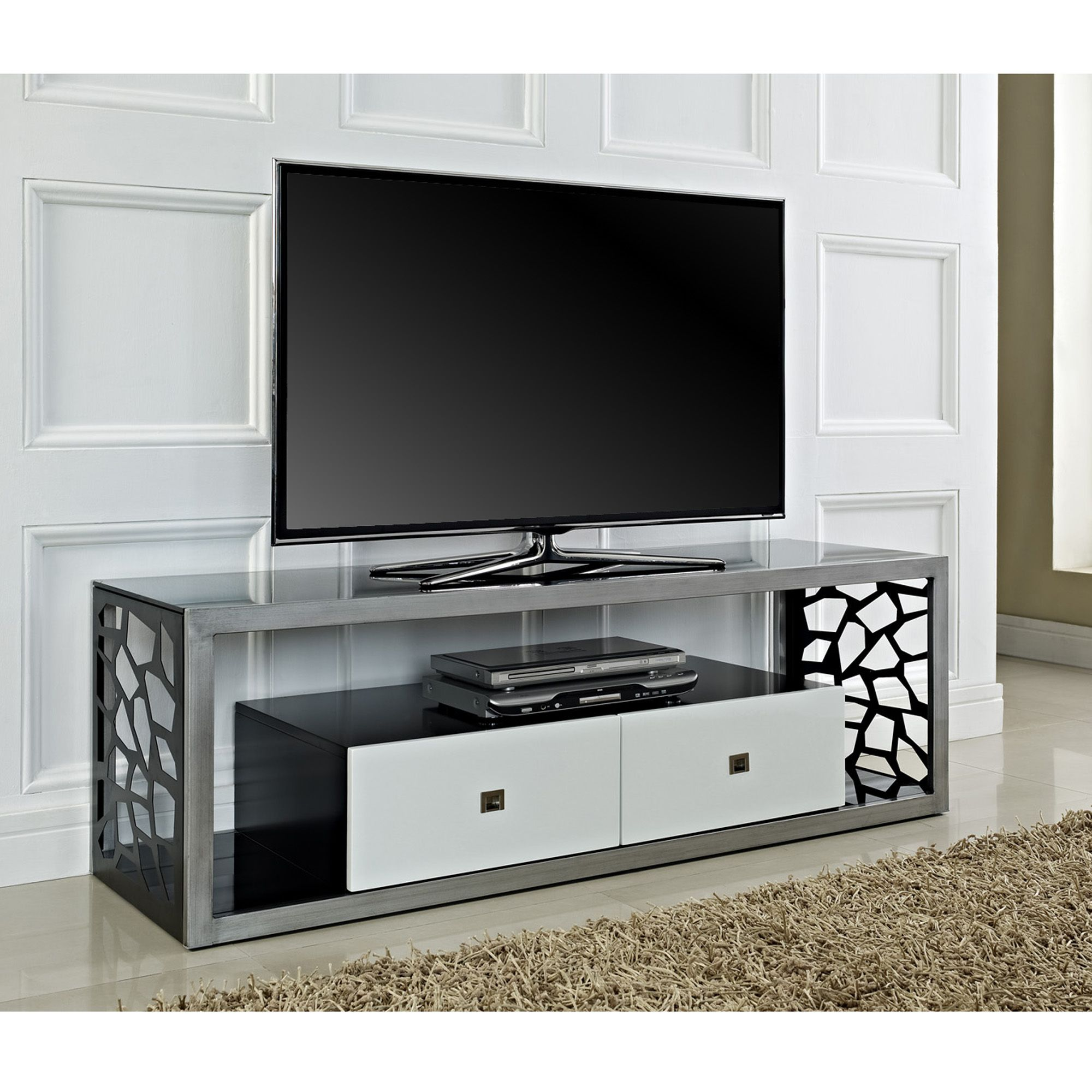 Beautiful 60 Mosaic Tv Stand Brushed Silver Frame With White Drawers And Black Tempered Gl Stylish Sy