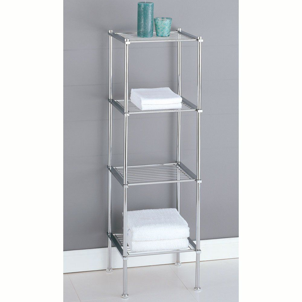 Amazon Com Organize It All Metro 4 Tier Shelf 16984 Towel Racks Freestanding Bathroom Storage Bathroom Storage Shelves Shelves