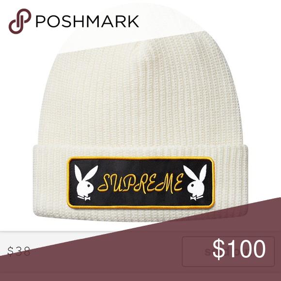 b70dd8fe0b0 Supreme x Playboy beanie Brand new White supreme beanie Supreme Accessories  Hats